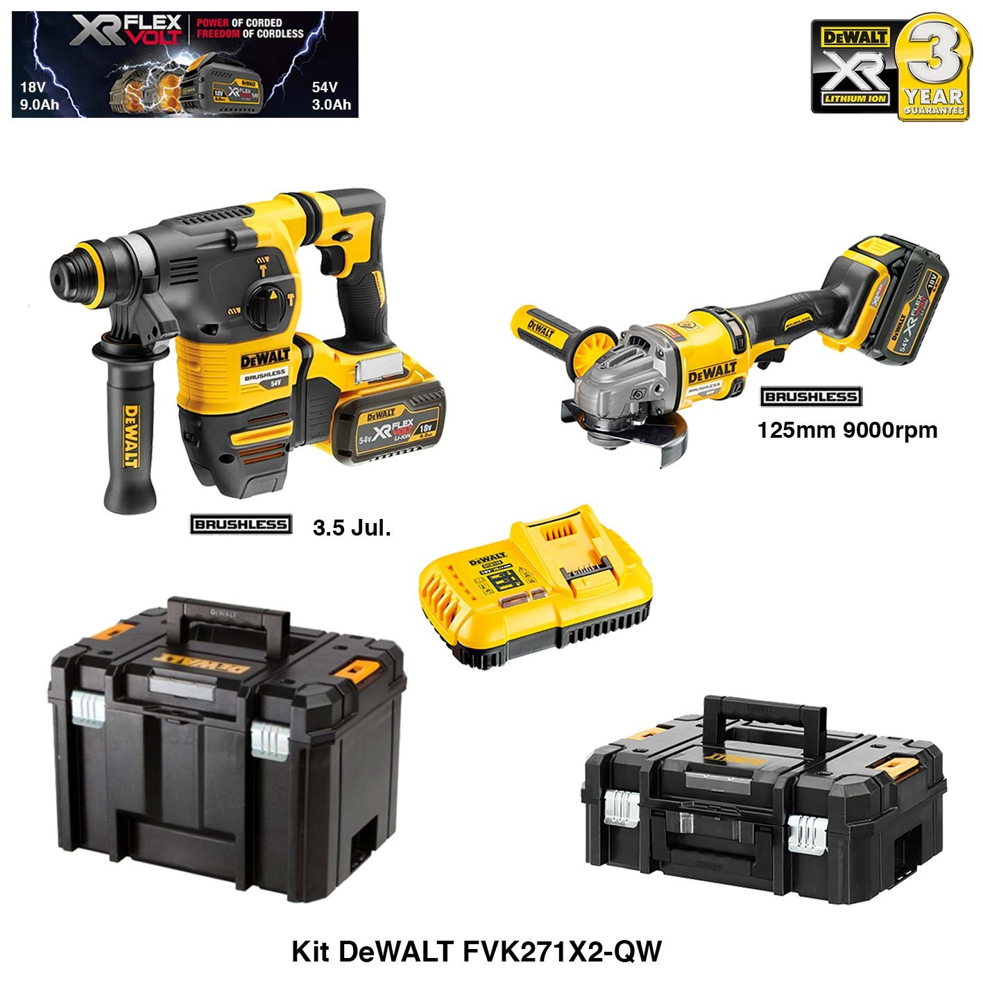 dewalt kit perforateur burineur et meuleuse flexvolt 54v 18v 2 x 9 0ah chargeur 2. Black Bedroom Furniture Sets. Home Design Ideas