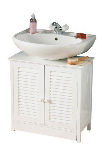 Premier housewares premier housewares meuble sous lavabo double porte blanc - Meuble sous lavabo 60 cm ...