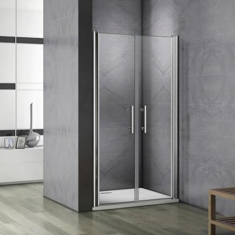 AICA porte de douche battante 75x187cm en 6mm verre anticalcaire AICA porte de douche en niche