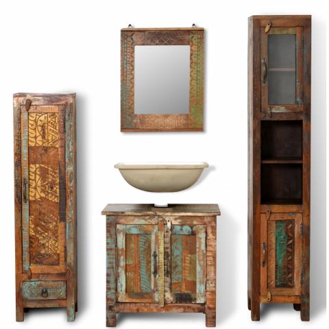 vidaXL - vidaXL Set de meubles salle bains en bois massif recyclé ...