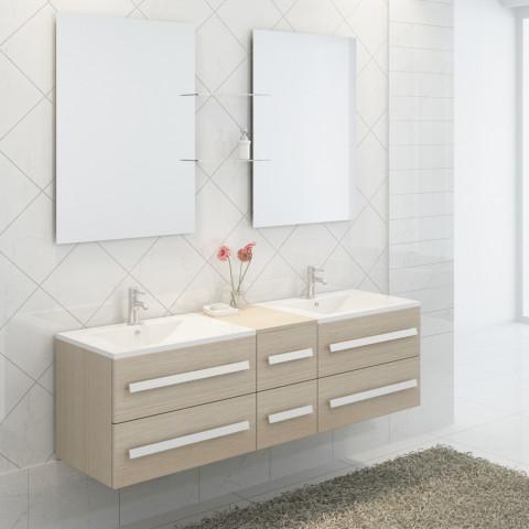 Ensemble complet meuble salle de bain pure 2 vasques 2 miroirs ...