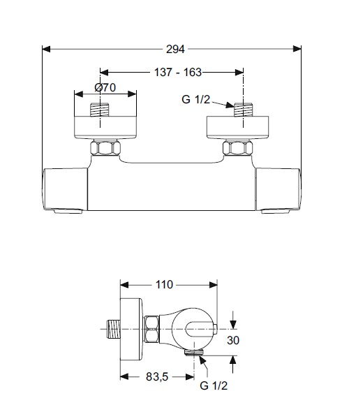 ideal standard mitigeur douche mural thermostatique ceratherm 100 distriartisan. Black Bedroom Furniture Sets. Home Design Ideas