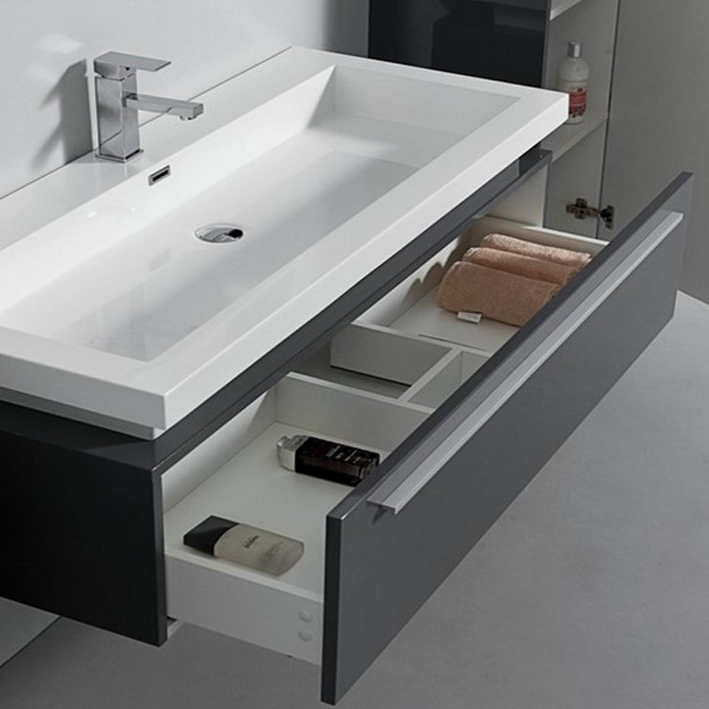 Ensemble complet meuble de salle de bain rio 1 vasque 1 miroir gris laqu distriartisan - Meuble salle de bain complet ...