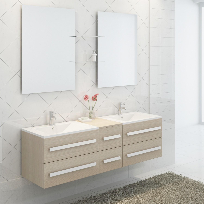 Import diffusion ensemble complet meuble salle de bain pure 2 vasques 2 miroirs distriartisan - Meuble salle de bain complet ...