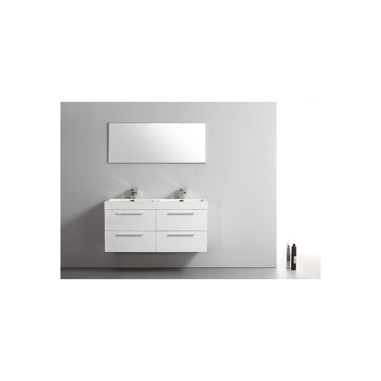Import diffusion ensemble meuble salle de bains double for Ensemble meuble salle de bain blanc
