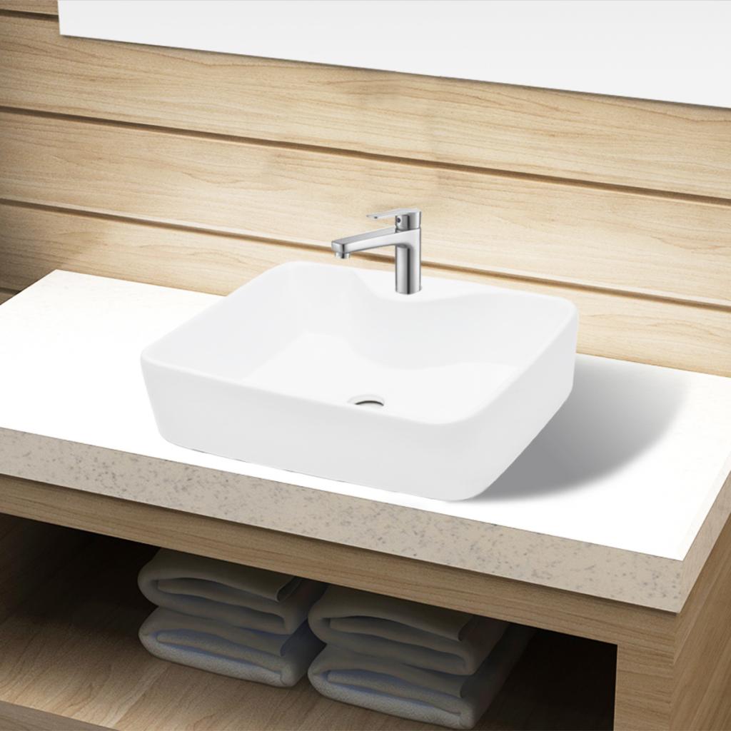 vidaxl vasque carr trou pour robinet c ramique blanc salle de bain distriartisan. Black Bedroom Furniture Sets. Home Design Ideas
