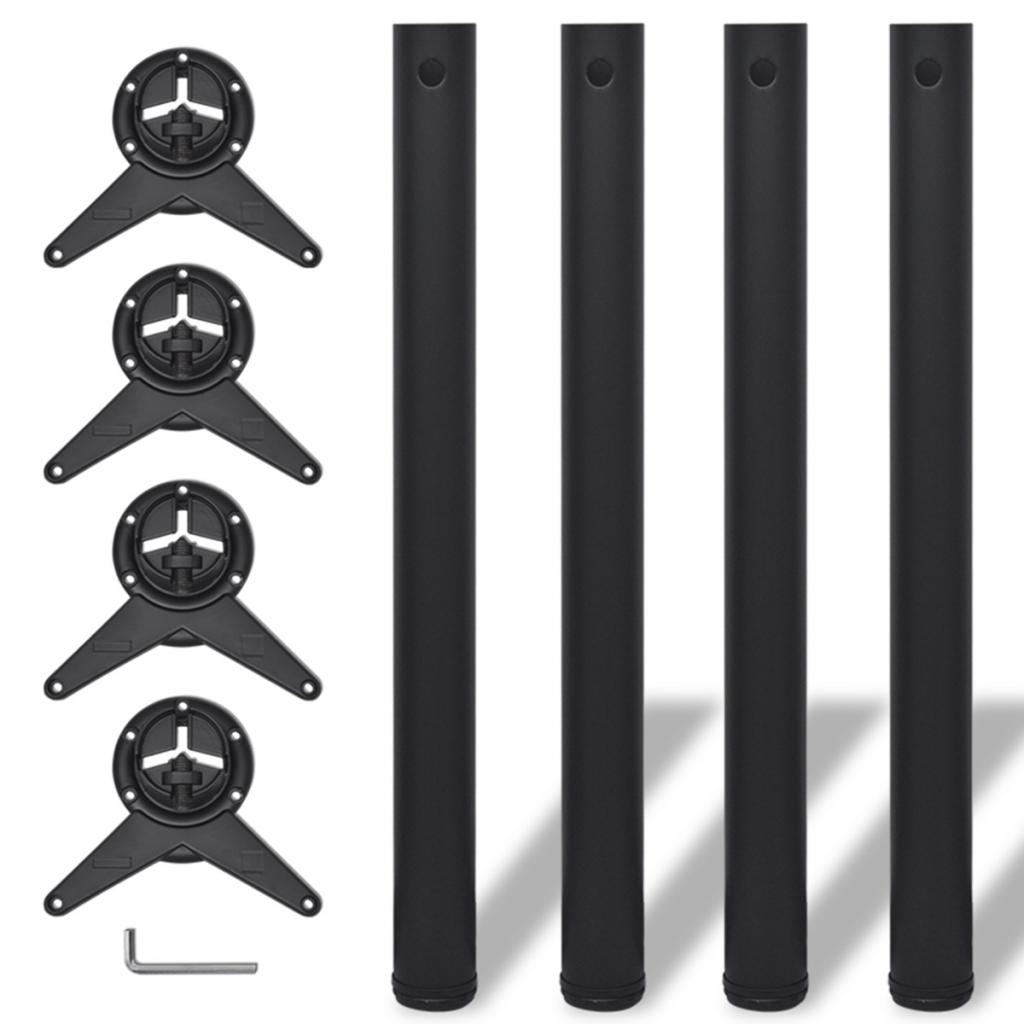Vidaxl vidaxl 4 pieds de table r glables en hauteur 710 mm noir distriartisan - Pieds reglables en hauteur ...