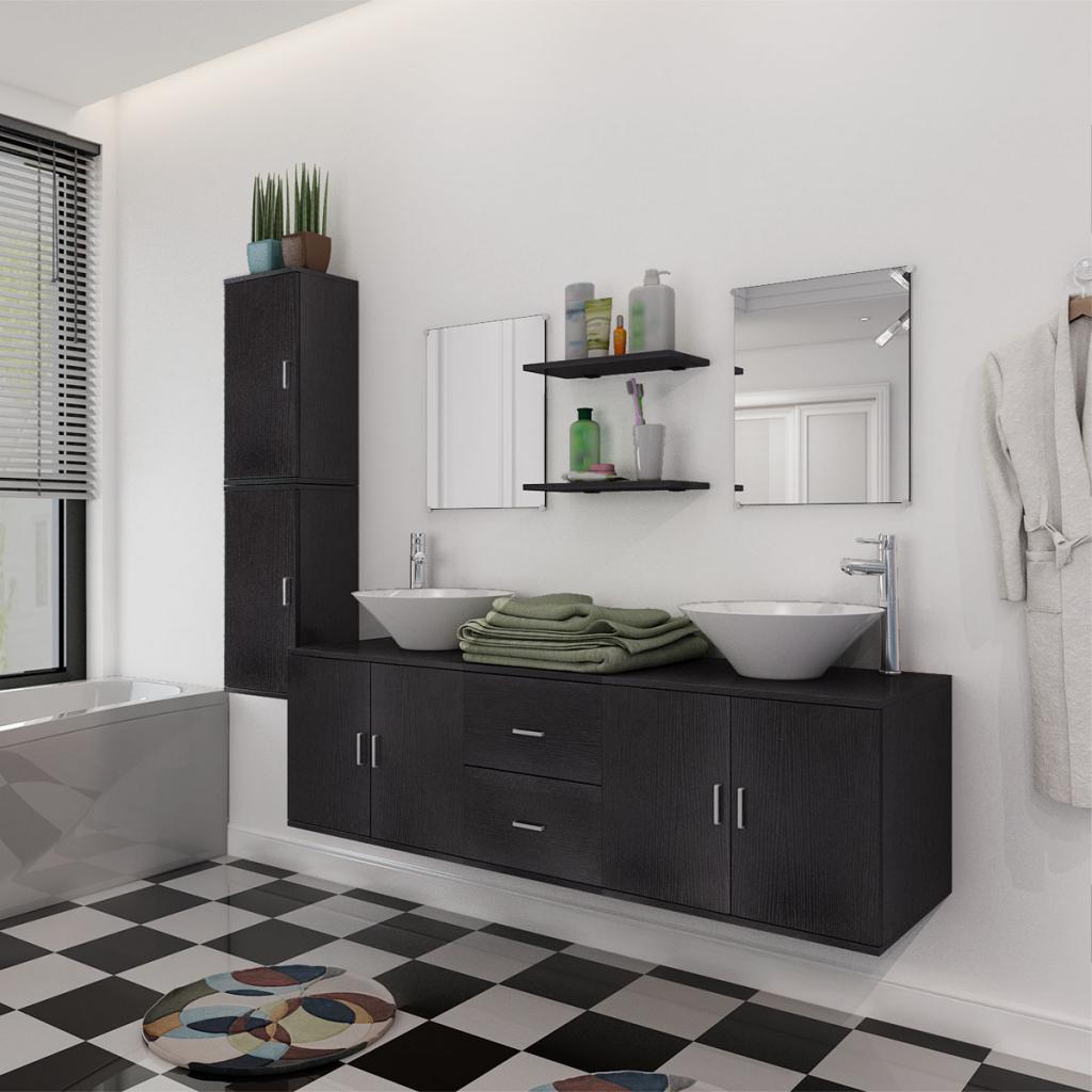 Vidaxl vidaxl 11 pi ces pour salle de bains avec lavabo for Robinet noir salle de bain