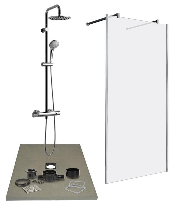 lazer kit complet de douche l 39 italienne pr t poser pour remplacer une baignoire. Black Bedroom Furniture Sets. Home Design Ideas
