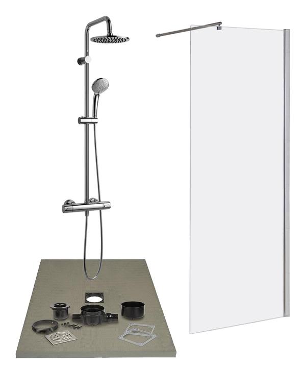 Lazer kit complet de douche l 39 italienne pr t poser dimensions au c - Dimensions douche a l italienne ...