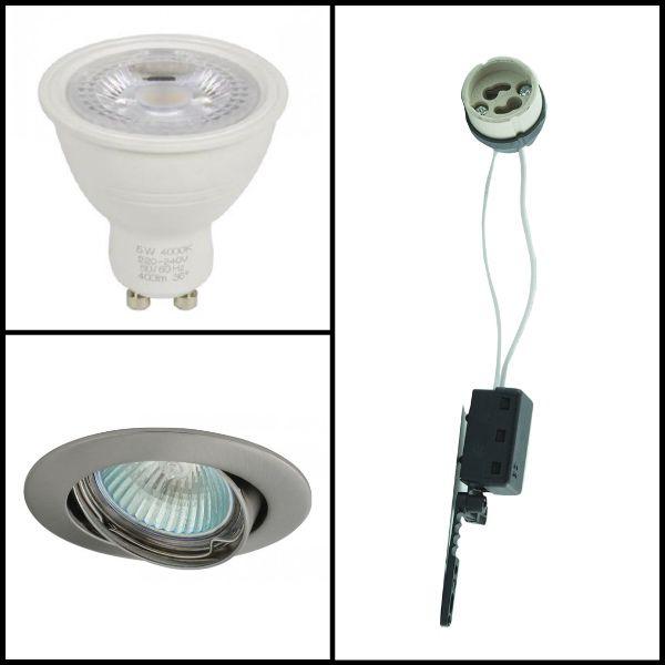 robus kit spot led gu10 4 5 watt eq 50 watt support gris couleur eclairage blanc. Black Bedroom Furniture Sets. Home Design Ideas