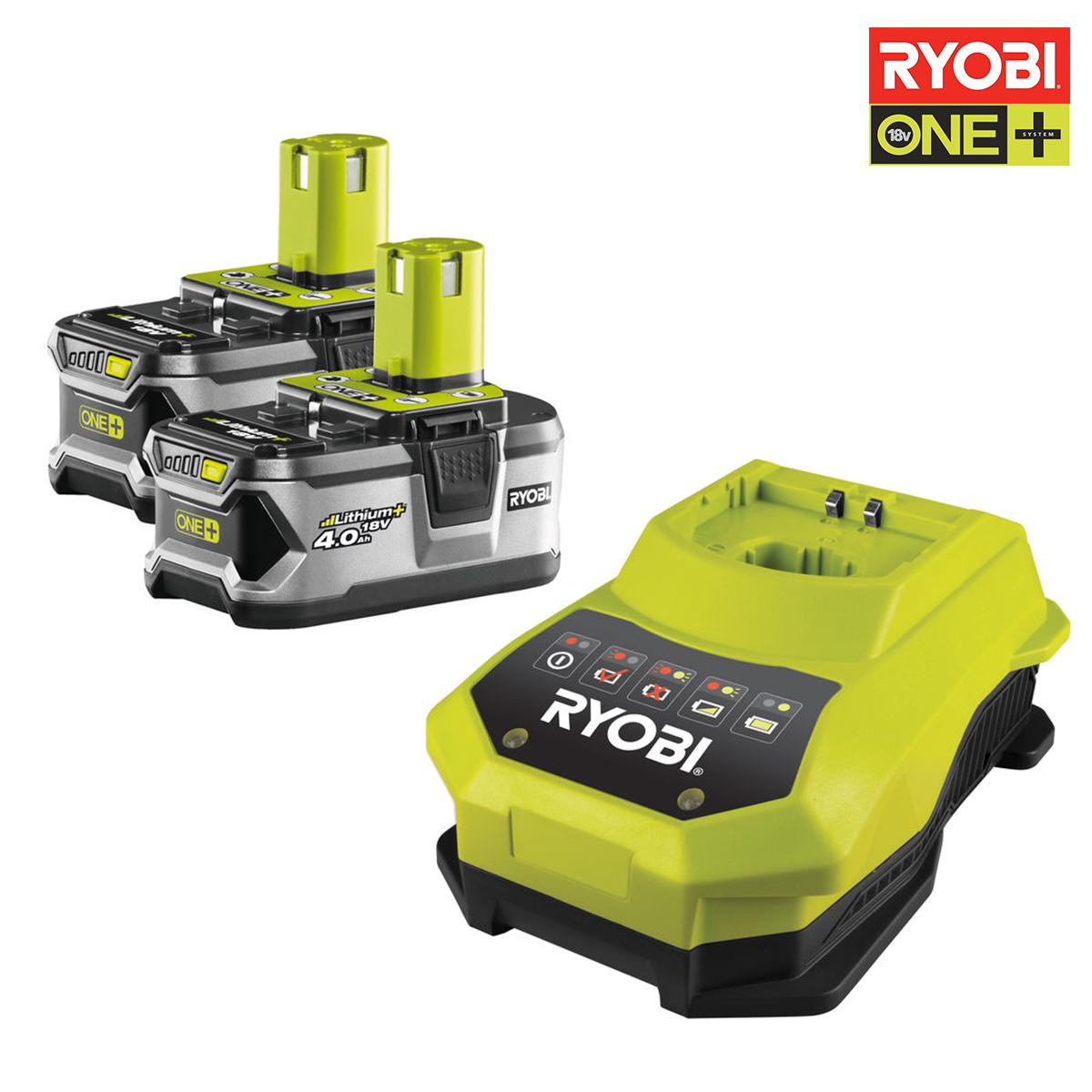 ryobi pack 2 batteries 18v oneplus 4 0ah et chargeur. Black Bedroom Furniture Sets. Home Design Ideas