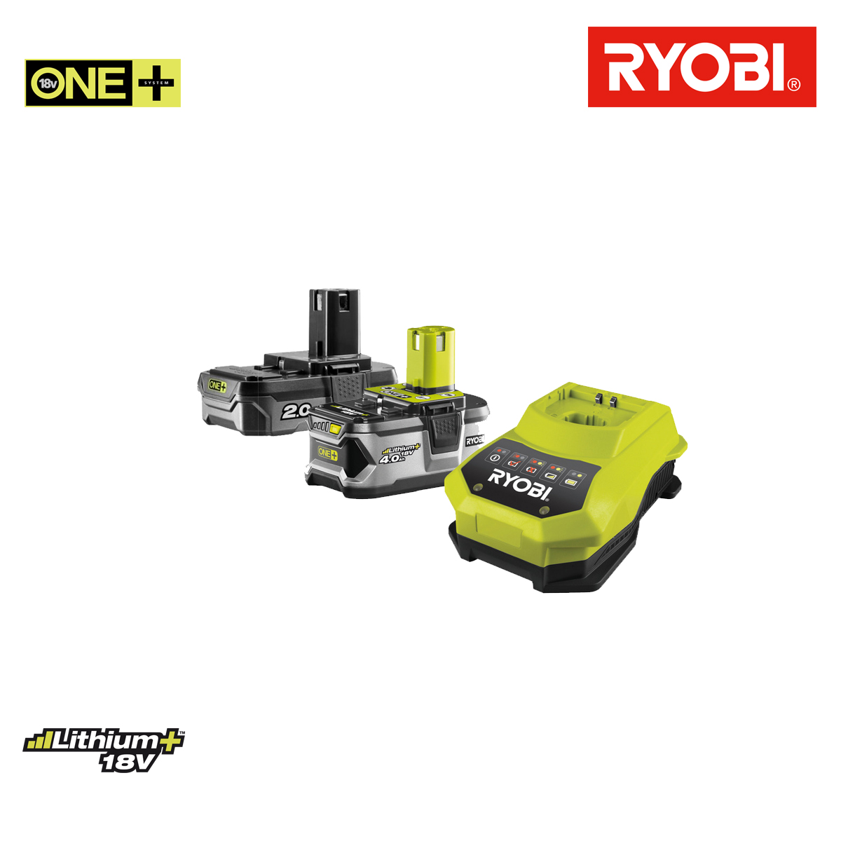 ryobi pack 2 batteries 18v oneplus et et chargeur rapide lithium ion. Black Bedroom Furniture Sets. Home Design Ideas