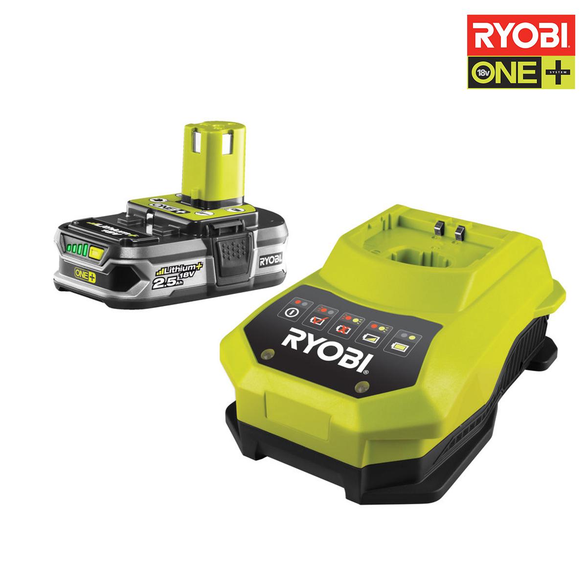 ryobi pack batterie 18v oneplus 2 5ah et chargeur rapide 1 8ah lithium ion rbc18l25. Black Bedroom Furniture Sets. Home Design Ideas