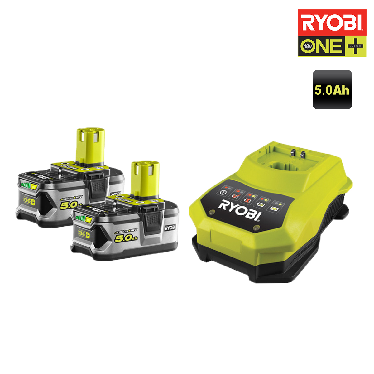 ryobi pack de 2 batteries 18v oneplus 5 0ah lithium ion. Black Bedroom Furniture Sets. Home Design Ideas